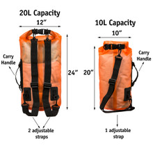 Premium Waterproof Dry Bag by SandShark Transparent 10 & 20 Liter Floating Sack w/Large Inside Pocket for Boating, Camping, Kayaking, Swimming, Hiking, Beach and Watersports - Side and Shoulder Strap – Roll Top Keeps Gear Dry.