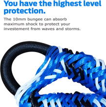 Premium Bungee Dock and Anchor Line By SandShark. Stretches from 4-5.5' ft, in Blue or Black color. Absorbs Shock to Cleats, Docks, Pylons, and Anchors. Stretches to Reduce Pull.  Great For Your Boat, Pontoon, PWC, Jet Ski, or Kayak.