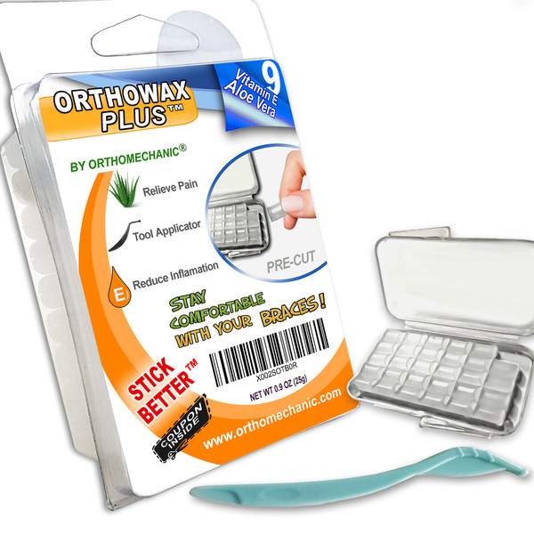 Orthowax Plus For Braces Wearer - Now Pre-Cut with Aloe-vera -  Vitamin E - Applicator Tool - Stick Better than competitors