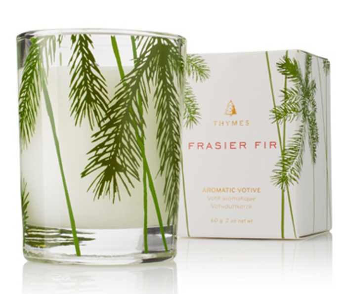 Thymes Frasier Fir Votive Candle-Pine Needle Design