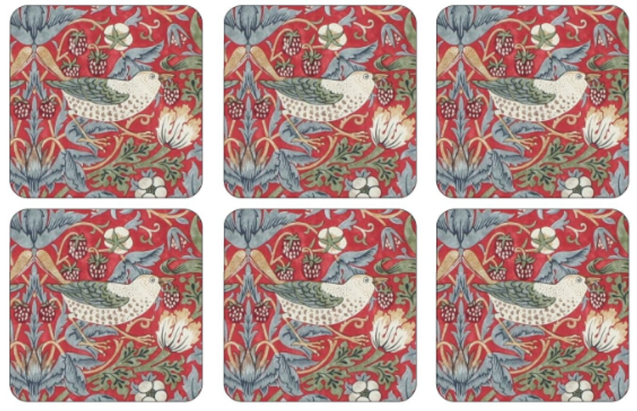 Strawberry Thief Red Coasters