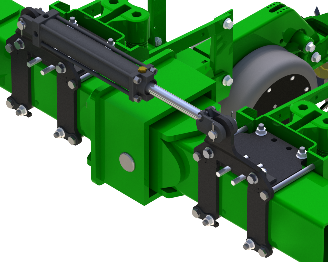 Front ISO view of John Deere 1770 weight distribution kit. WTS