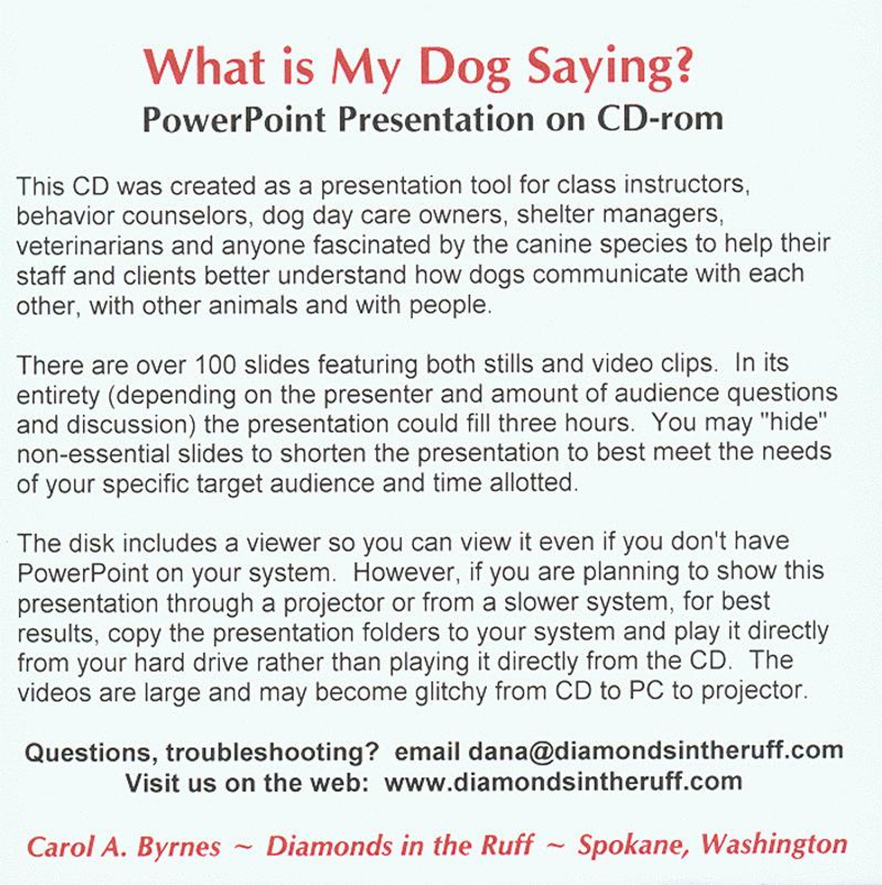 What Is My Dog Saying? - Powerpoint Cd