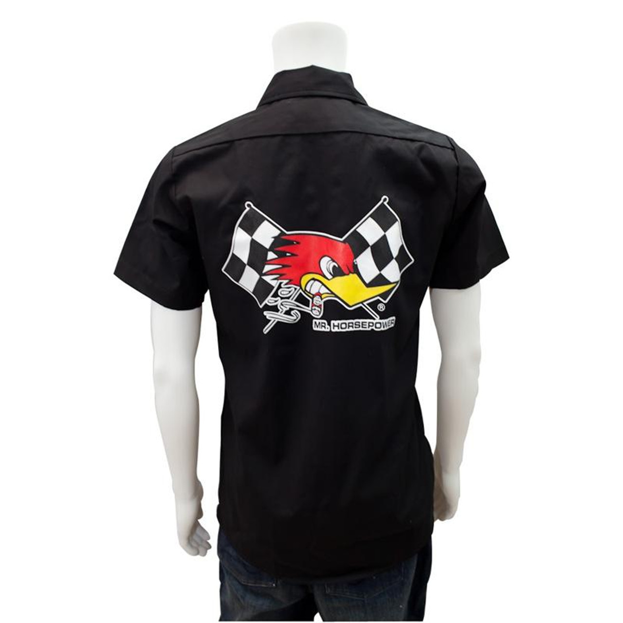 Mr. Horsepower Black Checkered Flag Work Shirt