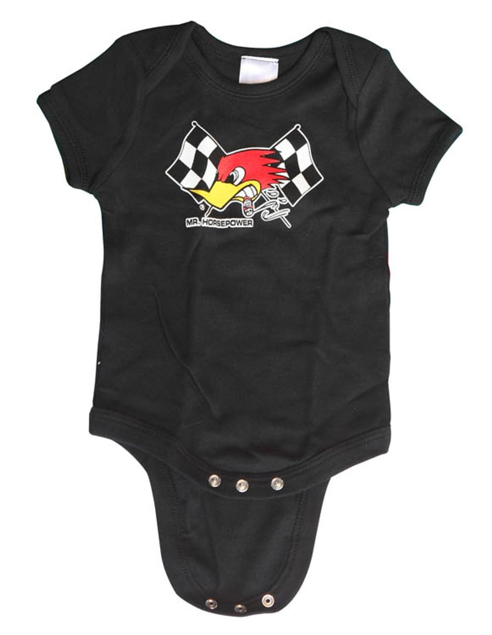 Mr Horsepower Black Checkered Flag Baby Romper