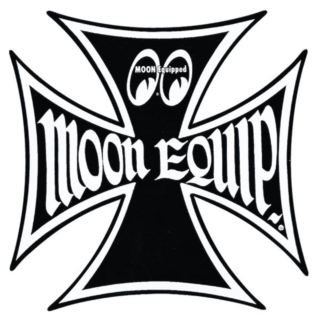 "Moon Maltese Cross Sticker - 3 1/4"""