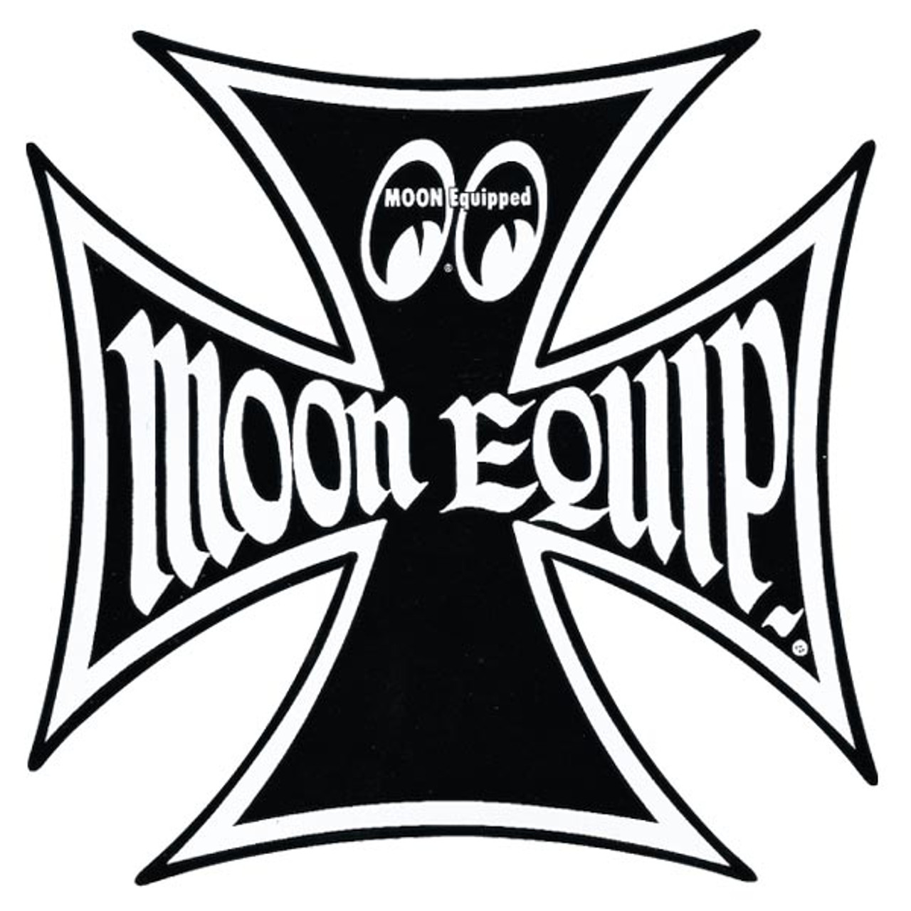 Moon Maltese Cross Sticker - 6""