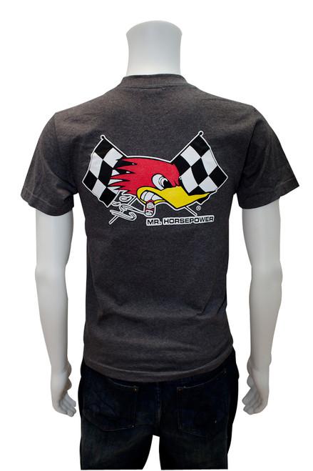 Mr. Horsepower Checkered Flag Heather Gray T-Shirt