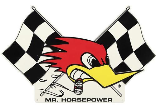 """Mr Horsepower Checkered Flag Tin Sign 18"""" x 12"""""""