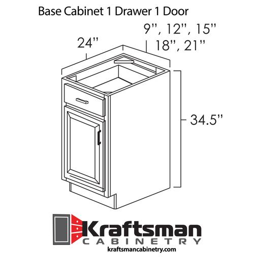 Base Cabinet 1 Drawer 1 Door Summit White Shaker Kraftsman Cabinetry