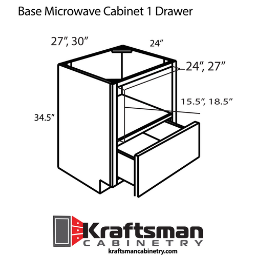 Base Microwave Cabinet 1 Drawer Summit White Shaker Kraftsman Cabinetry