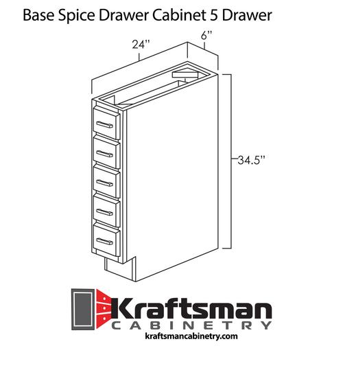 Base Spice Drawer Cabinet 5 Drawer Summit White Shaker Kraftsman Cabinetry