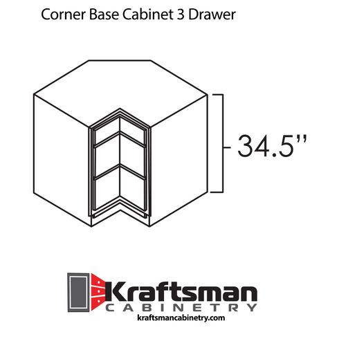 Corner Base Cabinet 3 Drawer Summit White Shaker Kraftsman Cabinetry