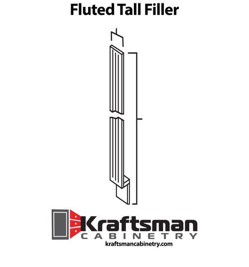 Fluted Tall Filler Summit White Shaker Kraftsman Cabinetry