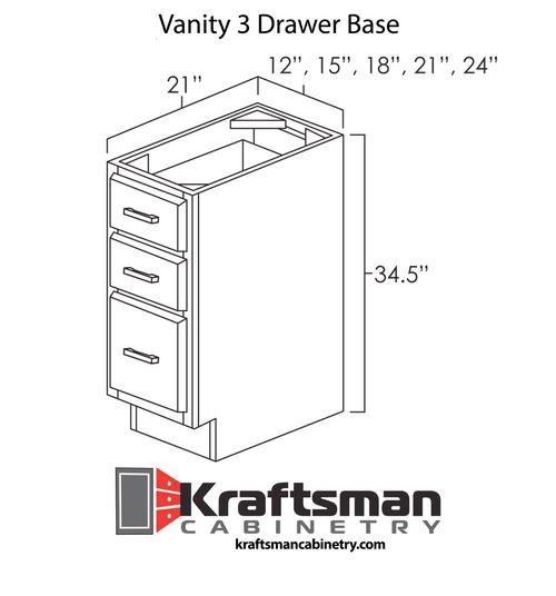 Vanity 3 Drawer Base Summit White Shaker Kraftsman Cabinetry