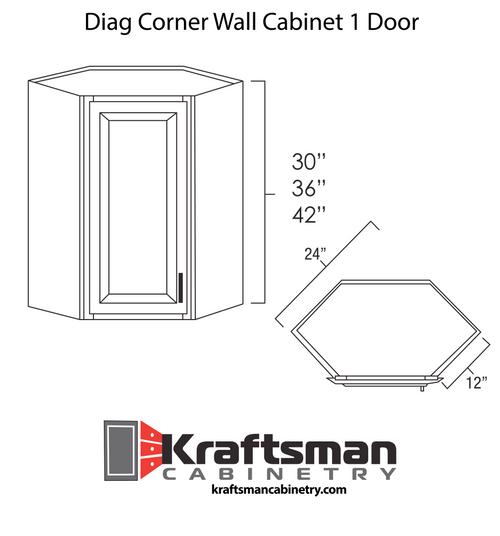 Diagonal Corner Wall Cabinet 1 Door Summit White Shaker Kraftsman Cabinetry