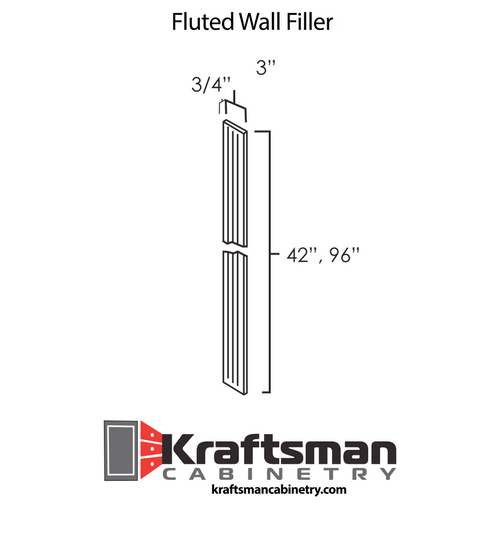 Fluted Wall Filler Summit White Shaker Kraftsman Cabinetry