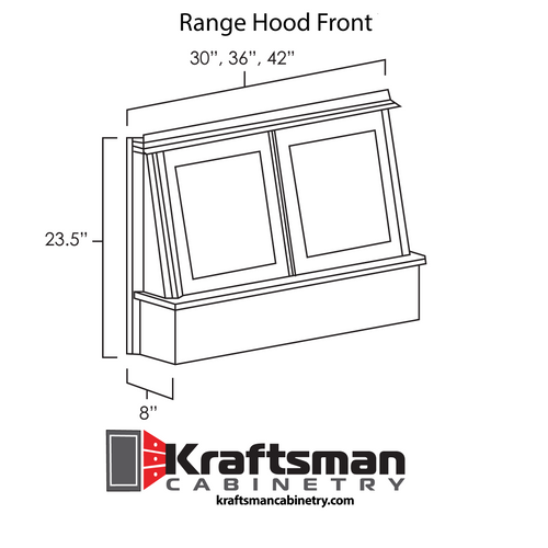 Range Hood Front Summit Platinum Shaker Kraftsman Cabinetry