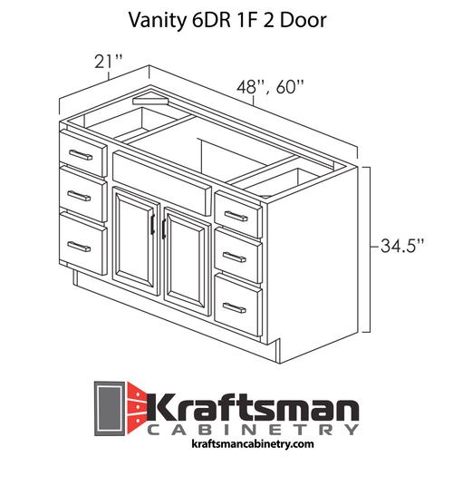 Vanity 6DR 1F 2 Door Summit Platinum Shaker Kraftsman Cabinetry