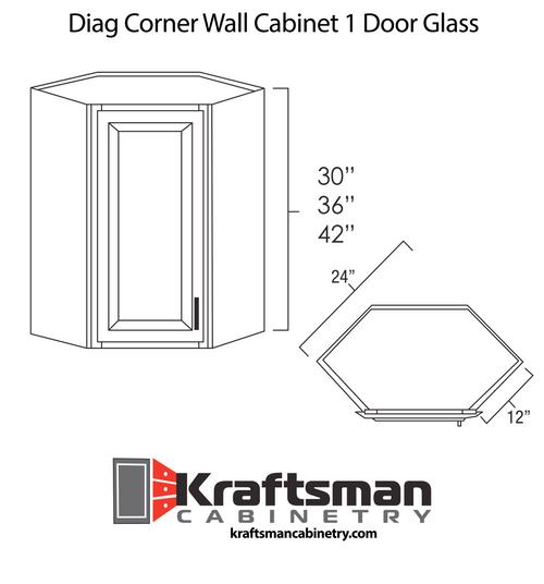 Diagonal Corner Wall Cabinet 1 Door Glass Summit Platinum Shaker Kraftsman Cabinetry