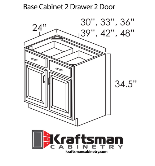 Base Cabinet 2 Drawer 2 Door Aspen White Kraftsman Cabinetry