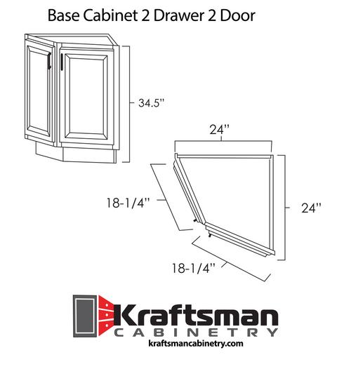 Base End Angle Cabinet 2 Door Aspen White Kraftsman Cabinetry