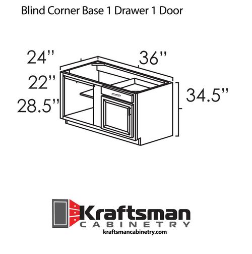 Blind Corner Base 1 Drawer 1 Door Aspen White Kraftsman Cabinetry