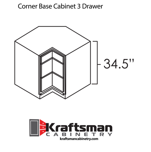 Corner Base Cabinet 3 Drawer Aspen White Kraftsman Cabinetry
