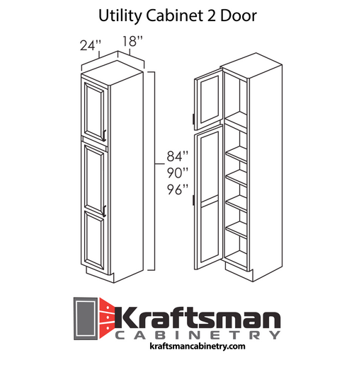 Utility Cabinet 2 Door Aspen White Kraftsman Cabinetry