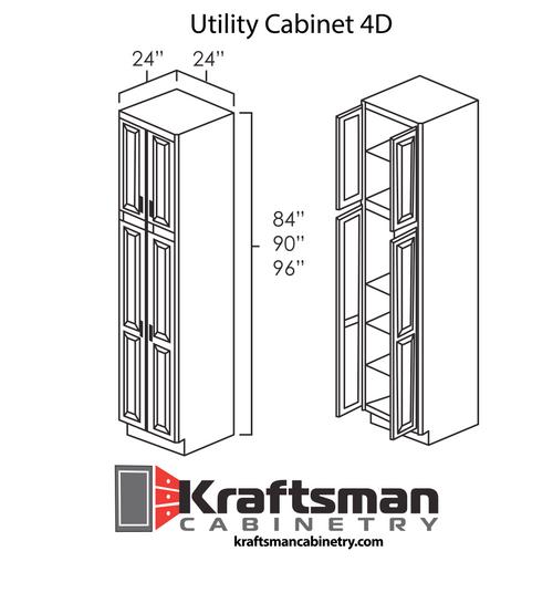 Utility Cabinet 4D Aspen White Kraftsman Cabinetry