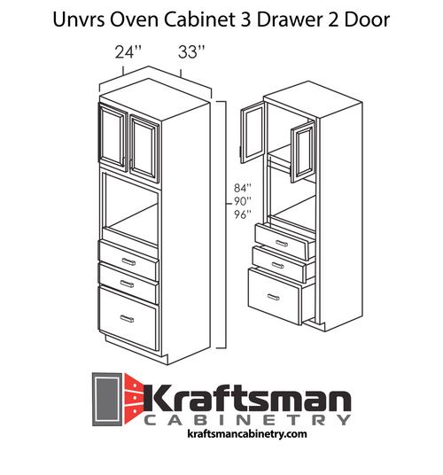 Universal Oven Cabinet 3 Drawer 2 Door Aspen White Kraftsman Cabinetry
