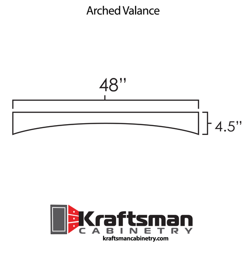 Arched Valance Aspen White Kraftsman Cabinetry