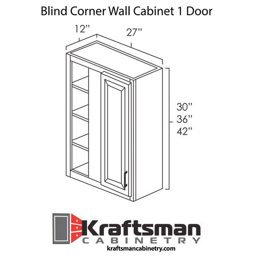 Blind Corner Wall Cabinet 1 Door Aspen White Kraftsman Cabinetry