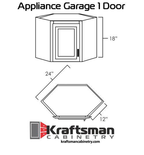 Appliance Garage 1 Door Hickory Shaker Kraftsman Cabinetry