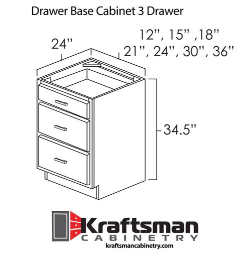 Drawer Base Cabinet 3 Drawer Hickory Shaker Kraftsman Cabinetry