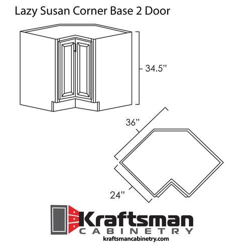 Lazy Susan Corner Base 2 Door Hickory Shaker Kraftsman Cabinetry