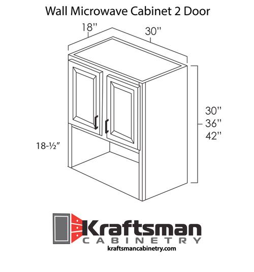 Wall Microwave Cabinet 2 Door Hickory Shaker Kraftsman Cabinetry