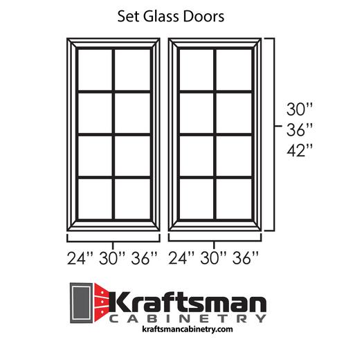 Set Glass Doors for Hickory Shaker Kraftsman Cabinetry