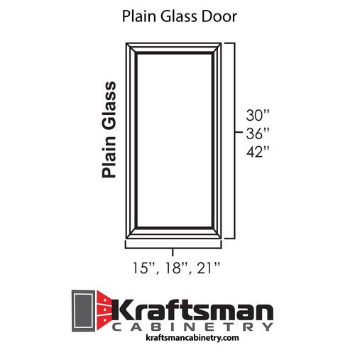 Plain Glass Door for Hickory Shaker Kraftsman Cabinetry