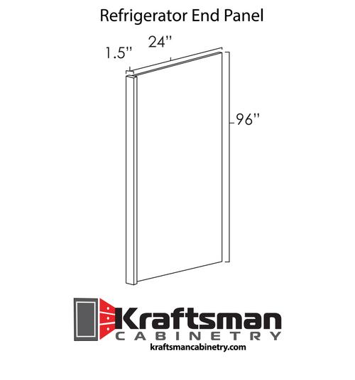 Refrigerator End Panel Hickory Shaker Kraftsman Cabinetry