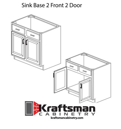 Sink Base 2 Front 2 Door Hickory Shaker Kraftsman Cabinetry