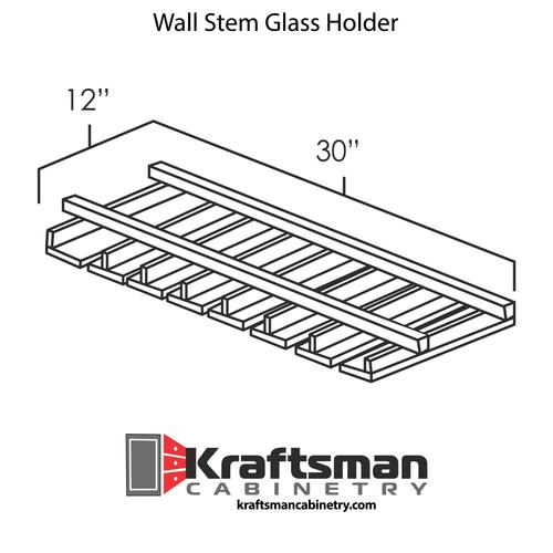 Wall Stem Glass Holder Hickory Shaker Kraftsman Cabinetry