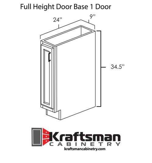 Full Height Door Base 1 Door Hickory Shaker Kraftsman Cabinetry