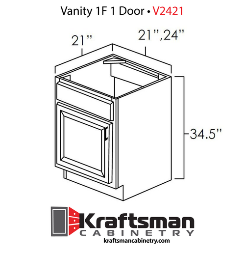Vanity 1F 1 Door Hickory Shaker Kraftsman Cabinetry