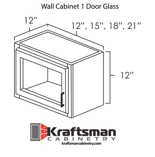 Wall Cabinet 1 Door Glass Hickory Shaker Kraftsman Cabinetry