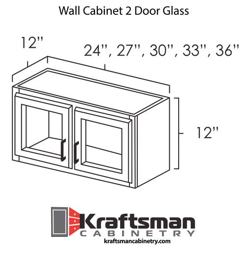 Wall Cabinet 2 Door Glass Hickory Shaker Kraftsman Cabinetry