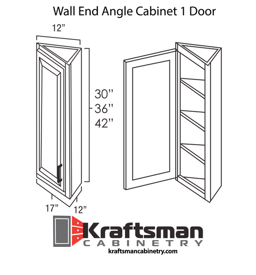 Wall End Angle Cabinet 1 Door Hickory Shaker Kraftsman Cabinetry