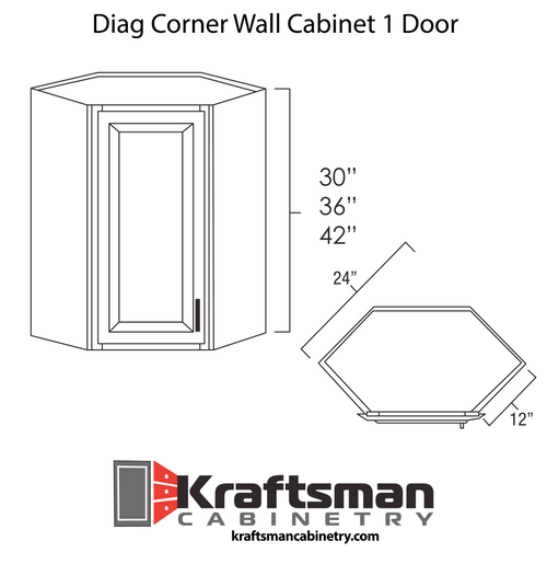 Diagonal Corner Wall Cabinet 1 Door Hickory Shaker Kraftsman Cabinetry