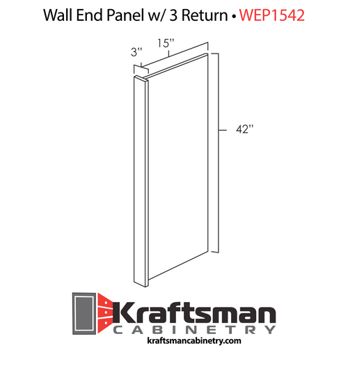 Wall End Panel w 3inch Return Hickory Shaker Kraftsman Cabinetry