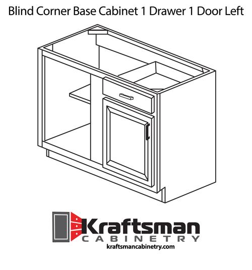Blind Corner Base Cabinet 1 Drawer 1 Door Left Java Shaker Kraftsman Cabinetry